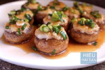 Nấm nhồi thịt tôm càng xanh hấp dẫn